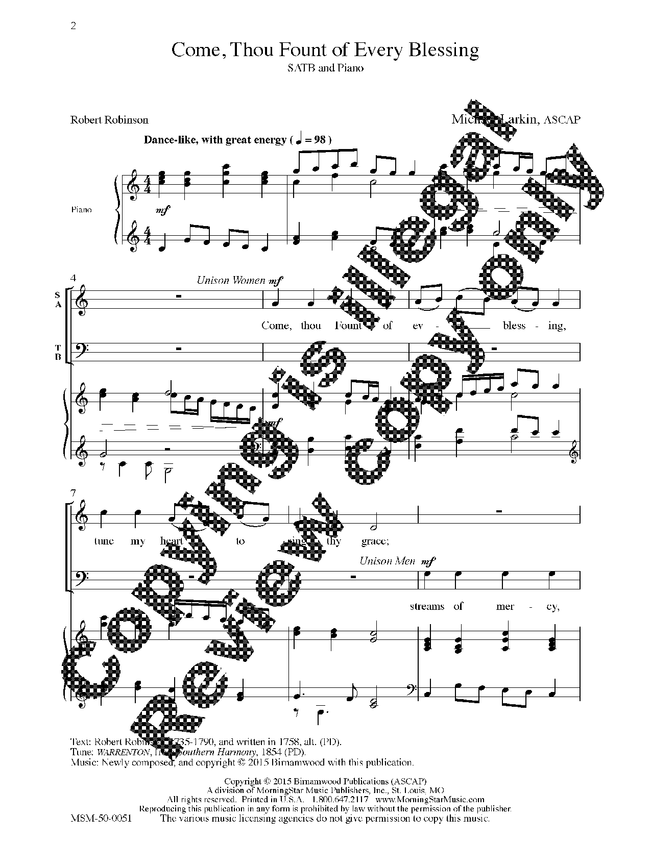 Come Thou Fount Of Every Blessing Satb Ar Jw Pepper Sheet Music