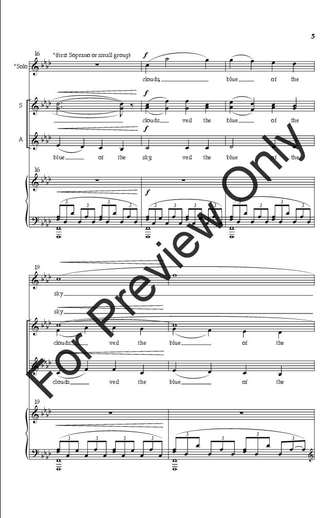 As The Rain Hides The Stars Ssa By Elaine Jw Pepper Sheet Music
