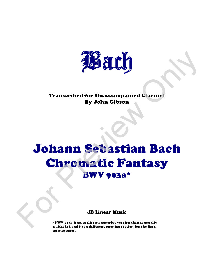 Chromatic Fantasy for Solo Clarinet Thumbnail