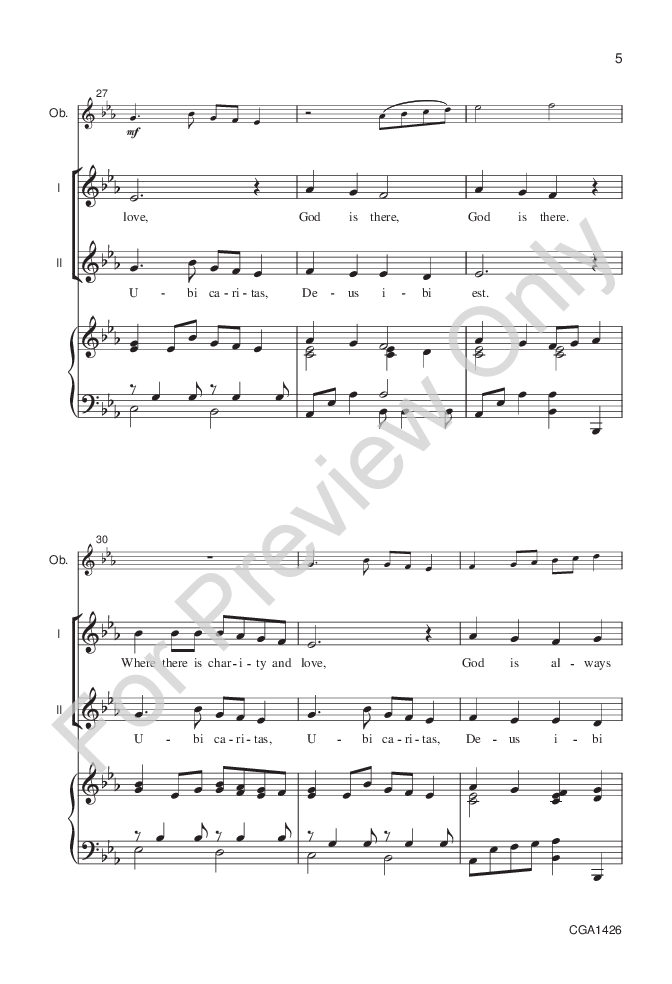 Ubi Caritas Unisontwo Part By Becki Slag Jw Pepper Sheet Music