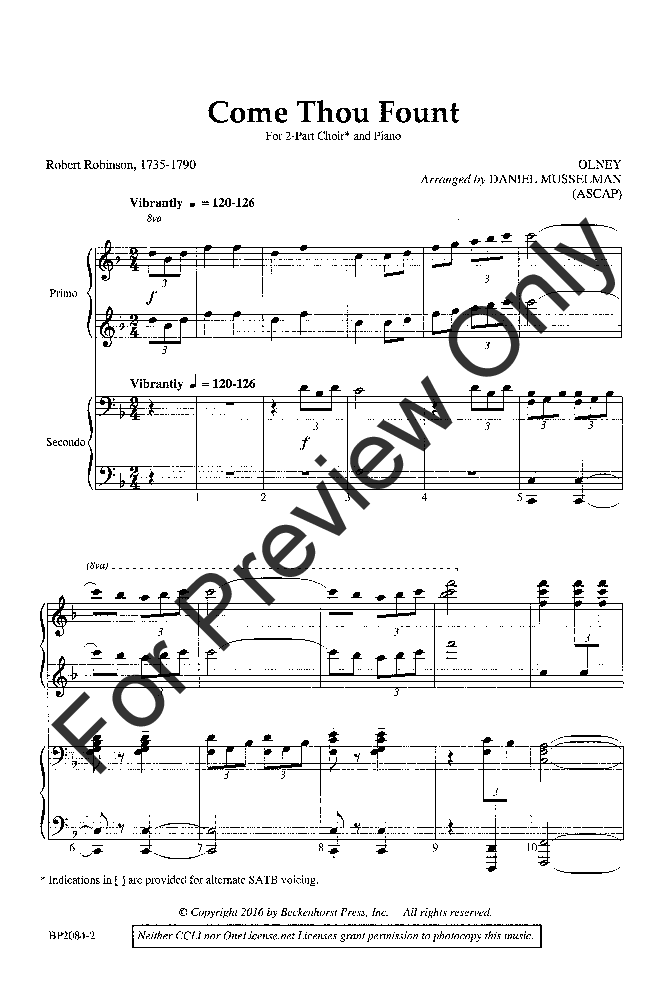 Come Thou Fount (Two-Part Mixed or SA) by Da | J.W. Pepper Sheet Music