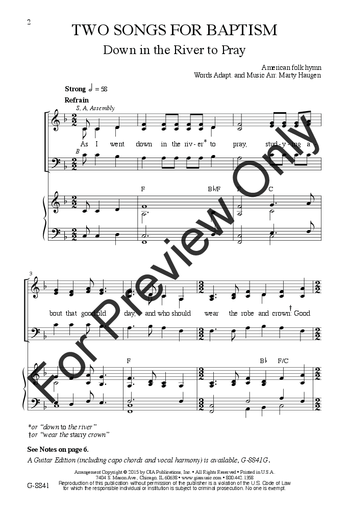 Two Songs for Baptism (SAB ) by Marty Haugen| J.W. Pepper Sheet Music