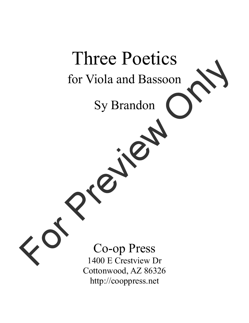 Three Poetics for Viola and Bassoon Thumbnail