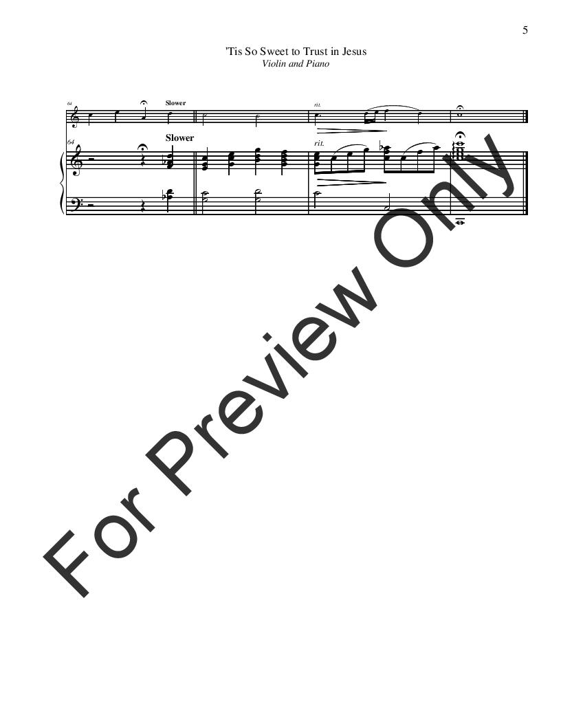 Tis So Sweet To Trust In Jesus Violin Solo Jw Pepper Sheet Music