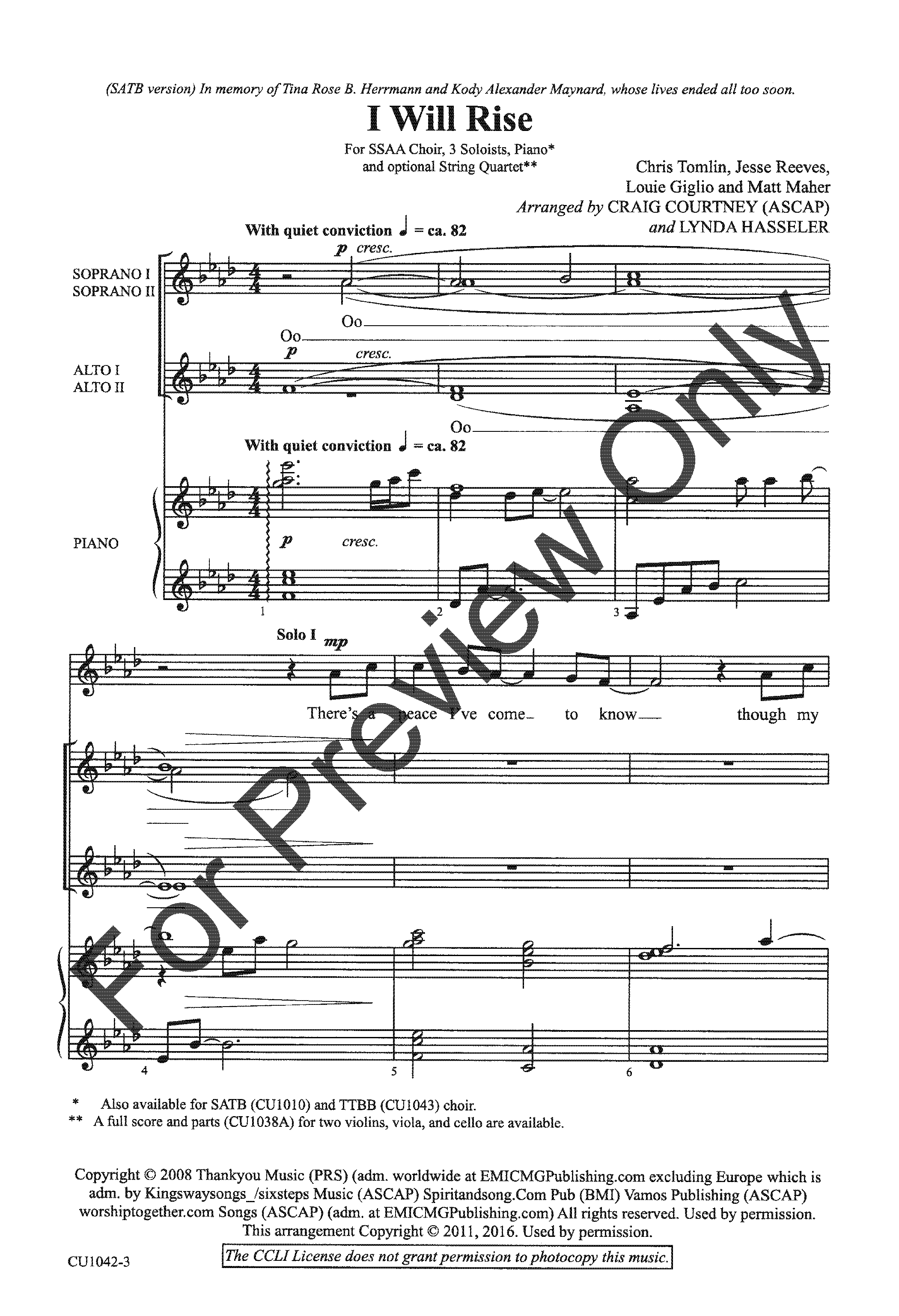 I Will Rise Ssaa By Chris Tomlin Arr C Jw Pepper Sheet Music Piano Parts Diagram Thumbnail