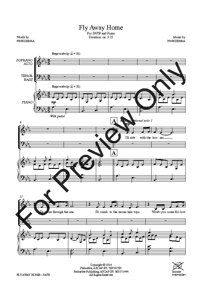 Fly Away Home (SATB ) by Pinkzebra| J.W. Pepper Sheet Music