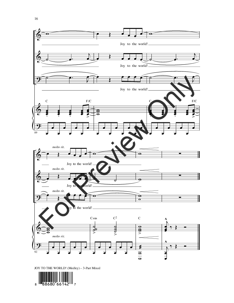 Joy to the World! (Three-Part Mixed ) arr. R | J.W. Pepper Sheet Music