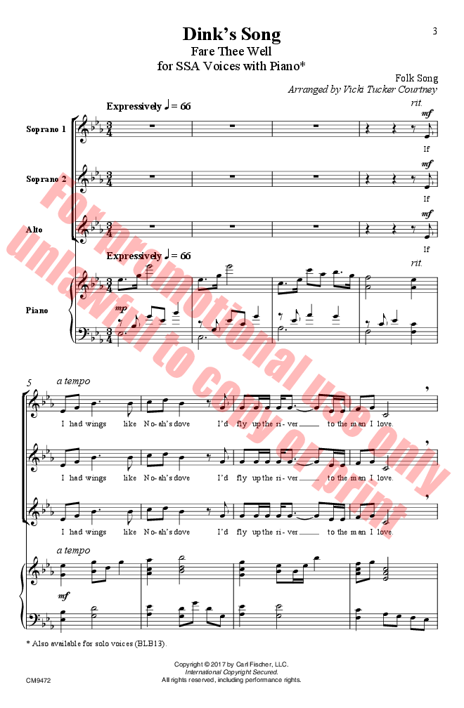 fare thee well piano sheet music - Heart.impulsar.co
