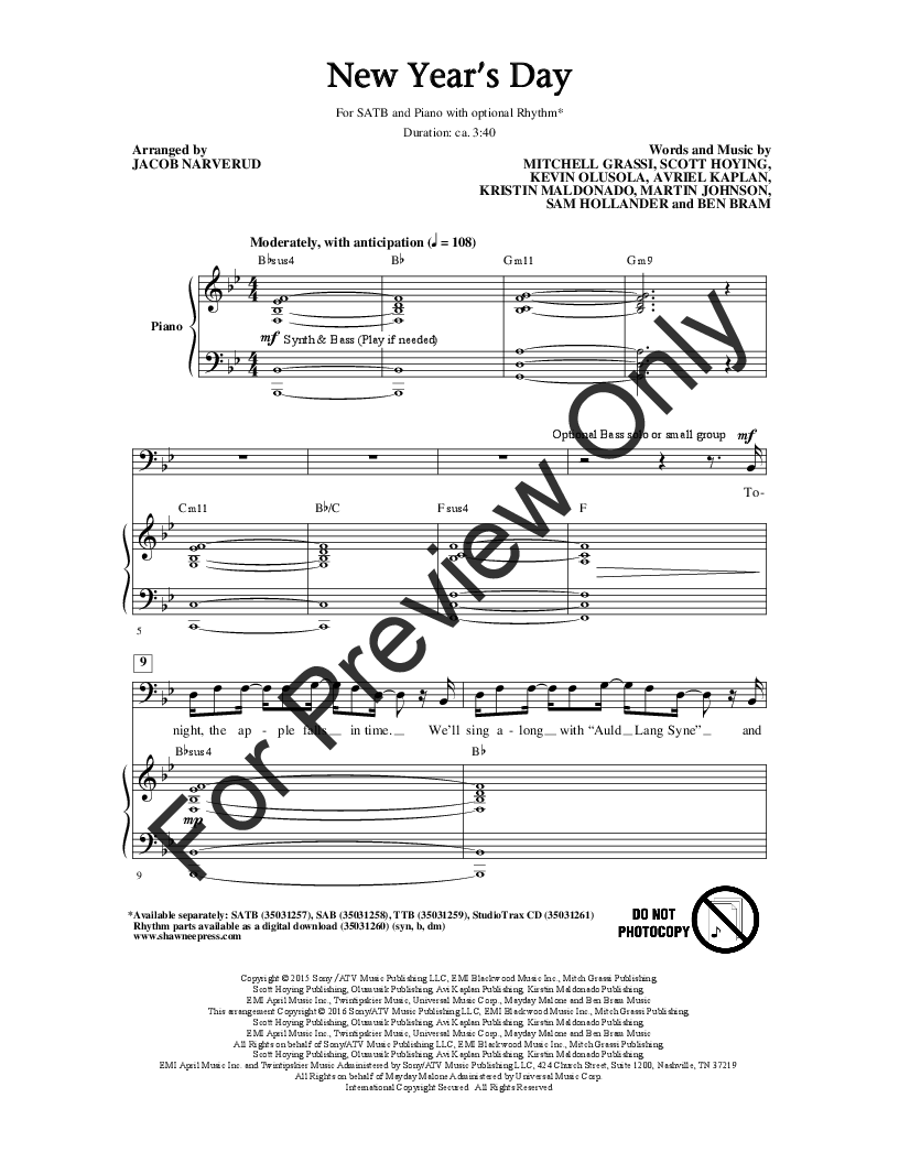 New Years Day Satb Arr Jacob Narverud Jw Pepper Sheet Music Piano Parts Diagram Thumbnail