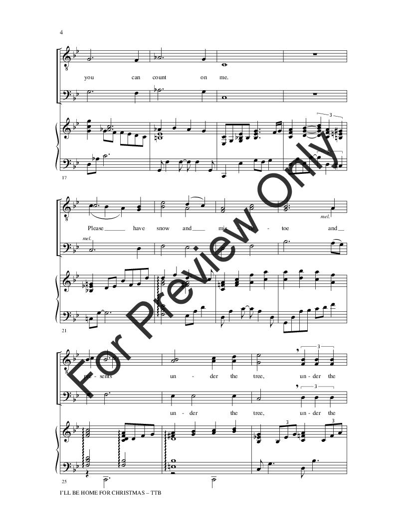 I\'ll Be Home for Christmas (TTB ) by Kim Gan | J.W. Pepper Sheet Music