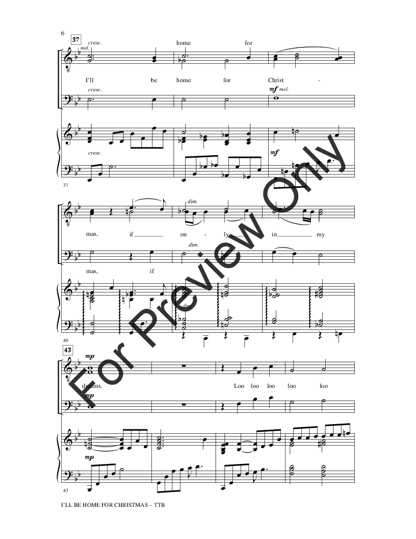 I\'ll Be Home for Christmas (TTB ) by Kim Gan | J.W. Pepper Sheet Music