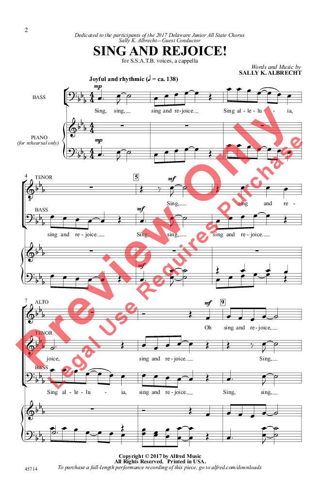 Sing And Rejoice Ssatb By Sally K Albre Jw Pepper Sheet Music