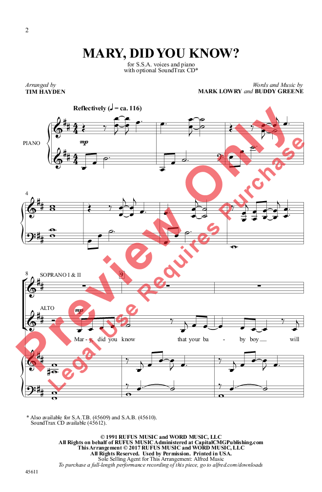 Mary, Did You Know? (SSA ) arr. Tim Hayden| J.W. Pepper Sheet Music