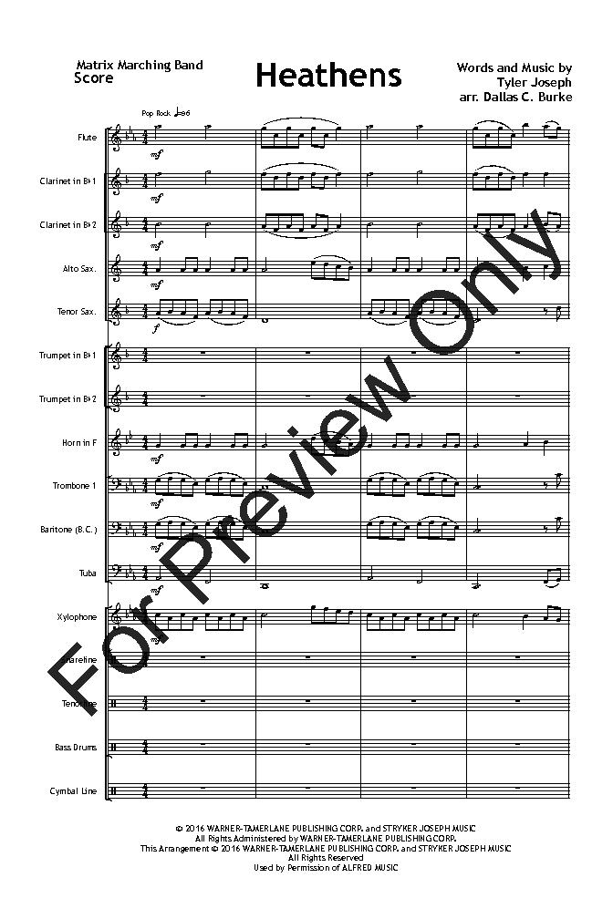 heathens flute sheet music