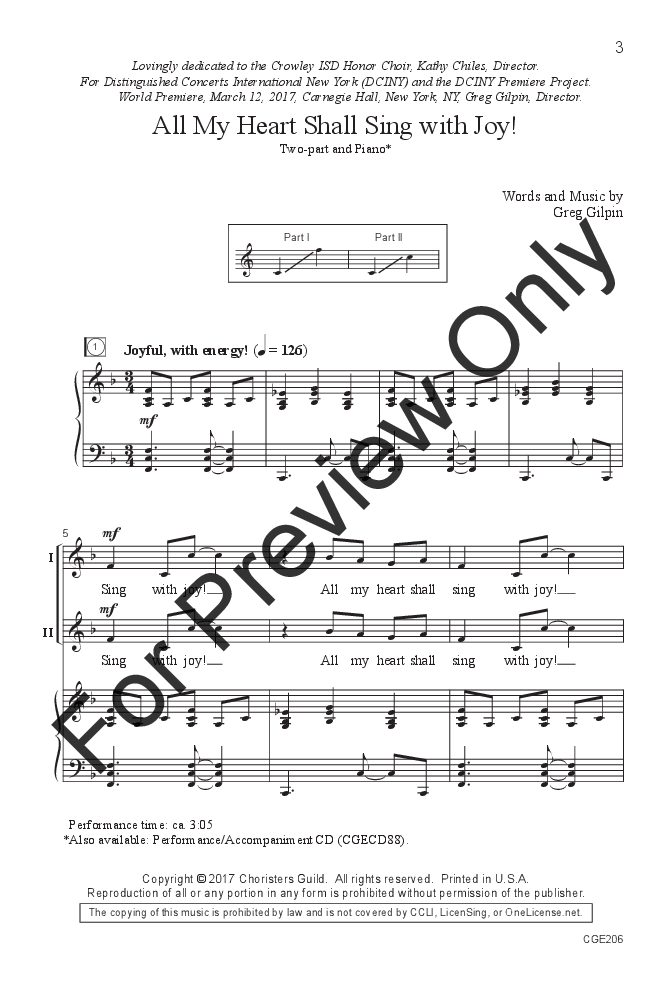 All My Heart Shall Sing With Joy Two Part Jw Pepper Sheet Music