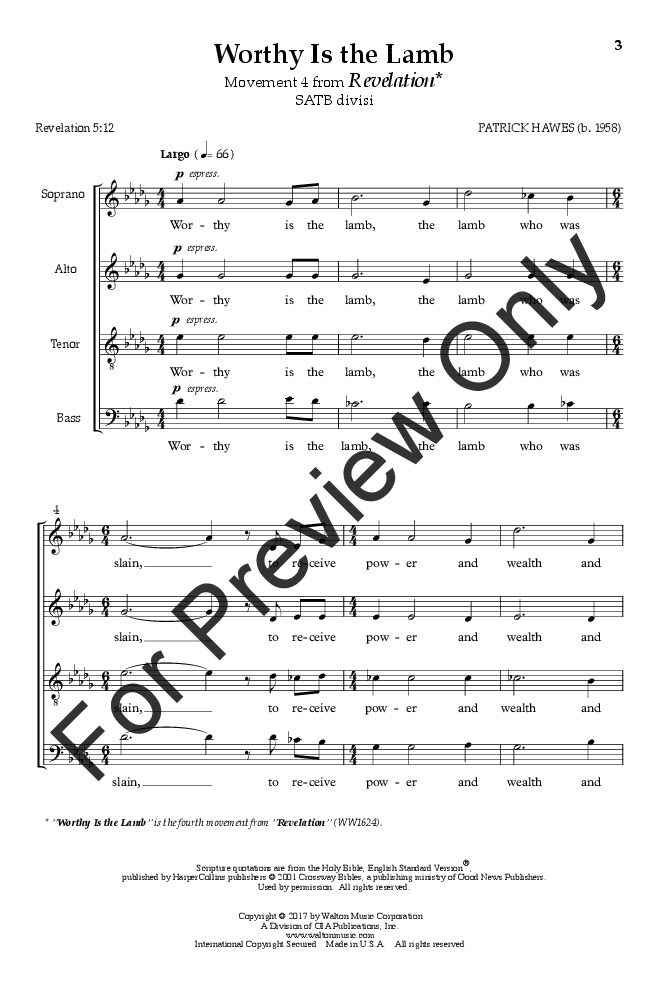 Worthy Is the Lamb (SATB ) by Patrick Hawes| J.W. Pepper Sheet Music