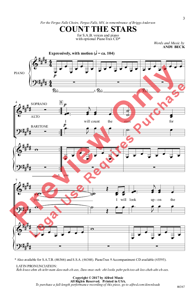 Count The Stars Sab By Andy Beck Jw Pepper Sheet Music