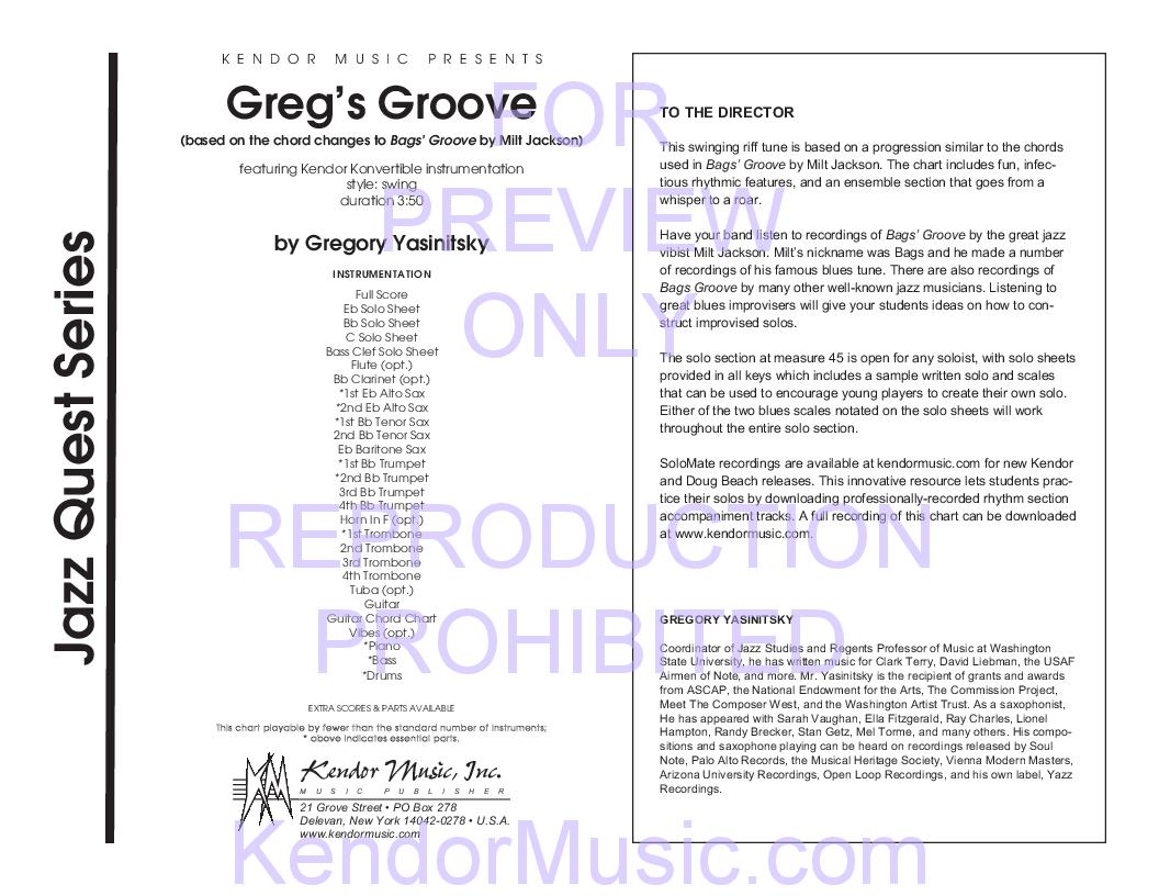 Gregs Groove By Gregory Yasinitsky Jw Pepper Sheet Music