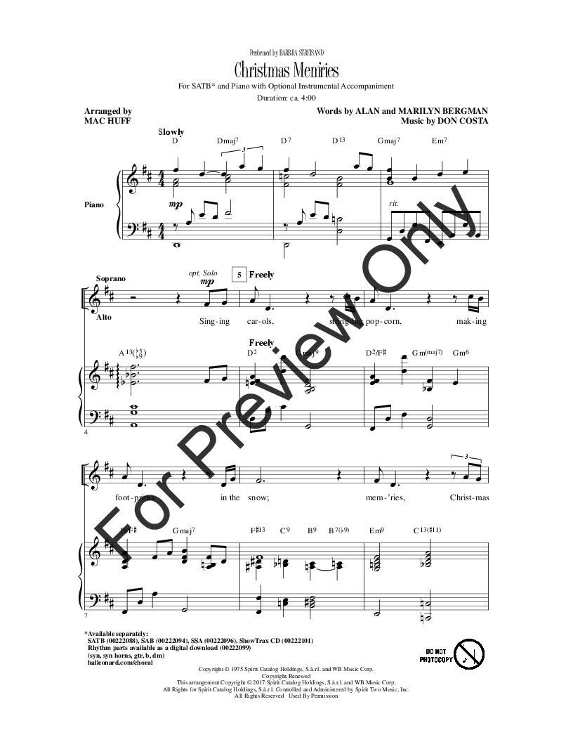 Christmas Mem\'ries (SATB ) arr. Mac Huff| J.W. Pepper Sheet Music