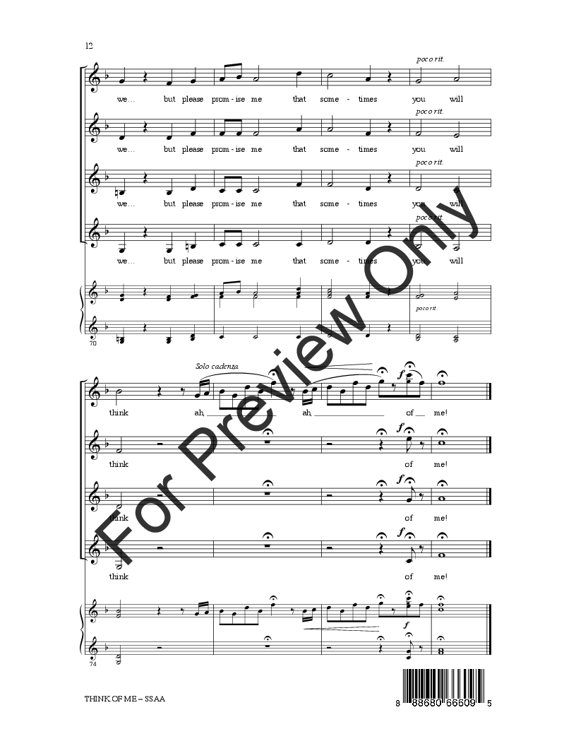Think of Me SSAA  by Andrew Lloyd Webber/a   J.W. Pepper Sheet Music