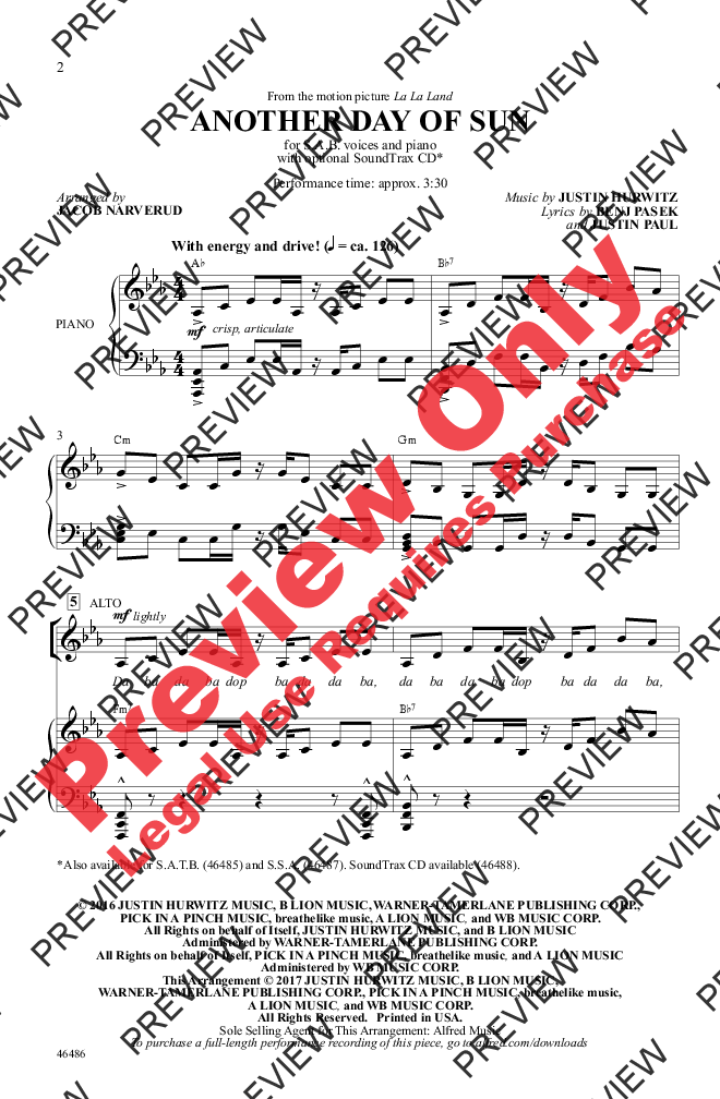 another day of sun sheet music pdf