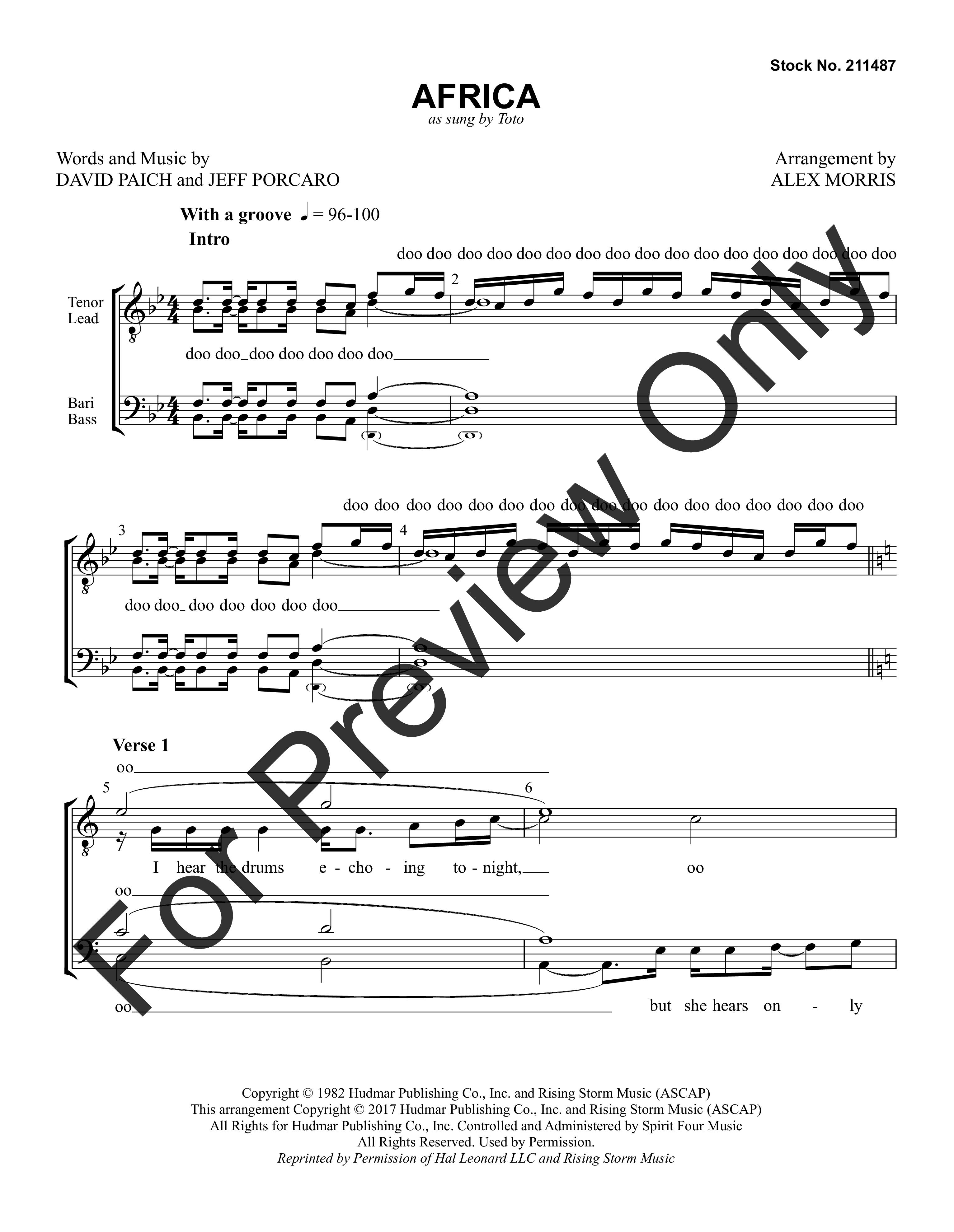 Africa (TTBB ) by David Paich & Jeff Porcaro   J.W. Pepper Sheet Music