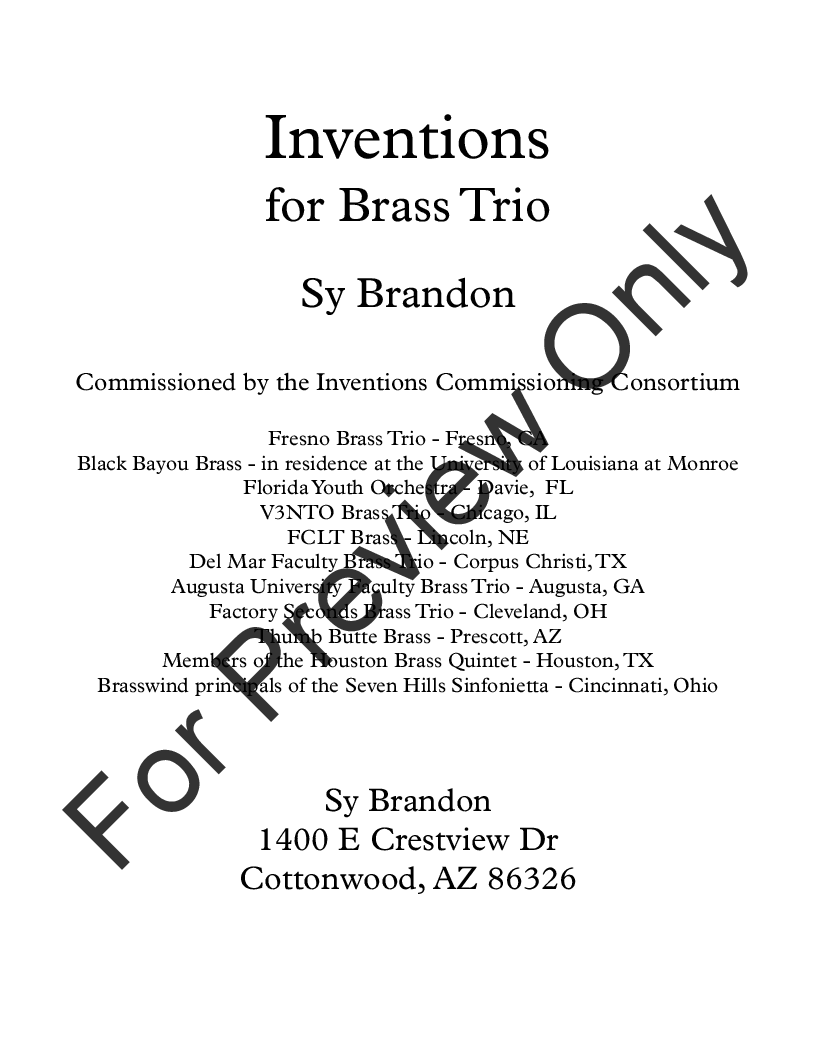 Inventions for Brass Trio Thumbnail