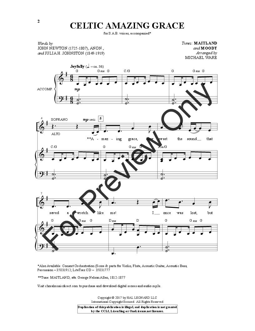 Celtic Amazing Grace Sab By Michael Ware Jw Pepper Sheet Music