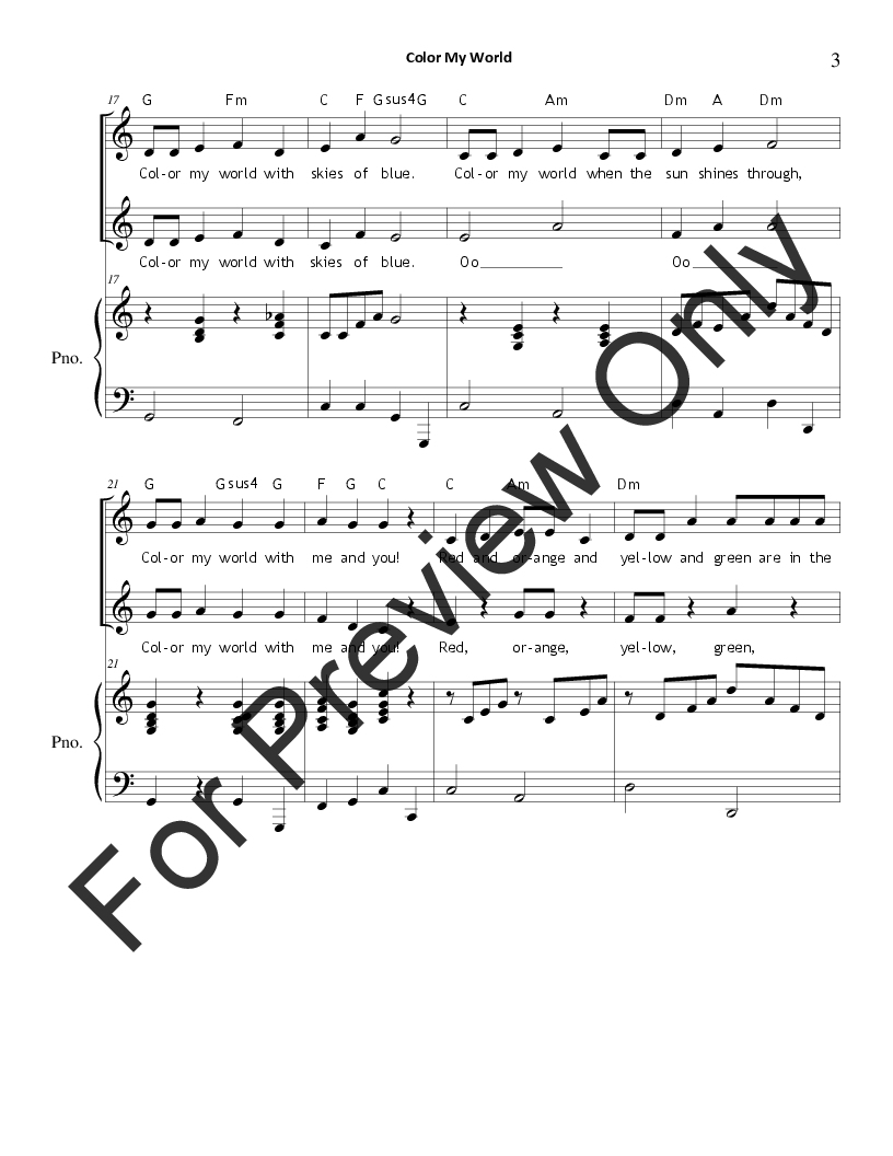 Color My World (Unison/Two-Part ) by Carol T | J.W. Pepper Sheet Music