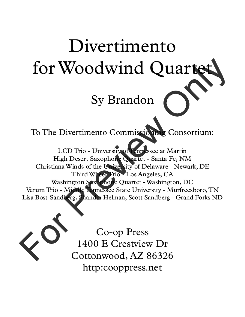 Divertimento for Woodwind Quartet Thumbnail