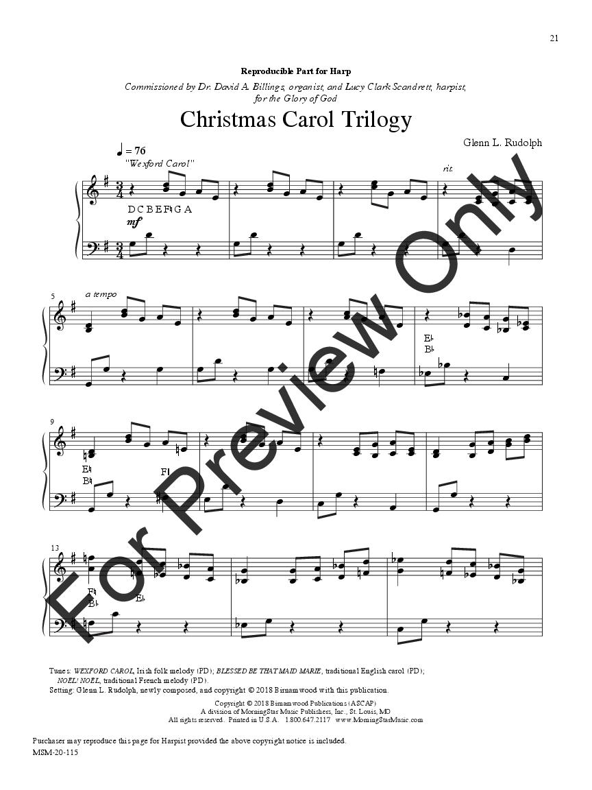 Christmas Carol Trilogy for Harp and Organ (Harp&   J.W. Pepper ...