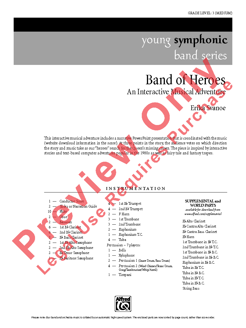 Band of Heroes Additional Score  by Erika   J.W. Pepper Sheet Music