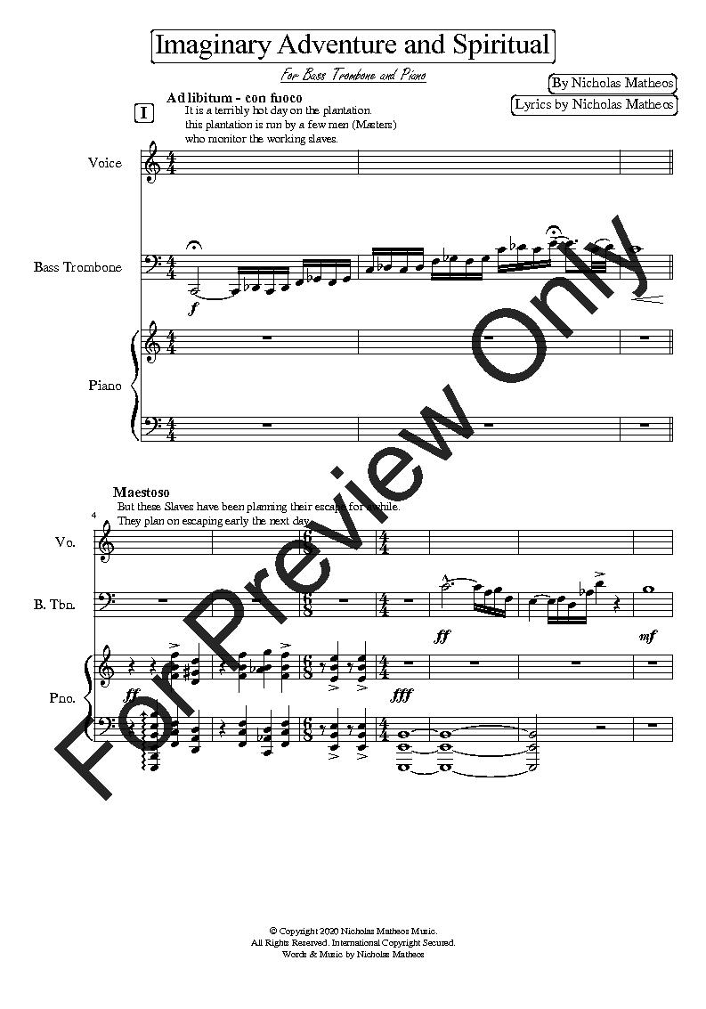 imaginary adventure and spiritual for bass trombo | j.w. pepper sheet music  jw pepper