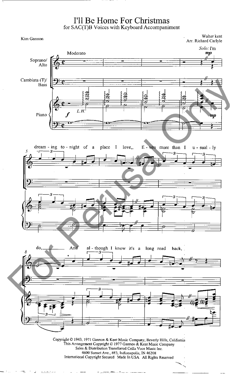 I\'ll Be Home for Christmas (SACB ) by CARLYLE| J.W. Pepper Sheet Music