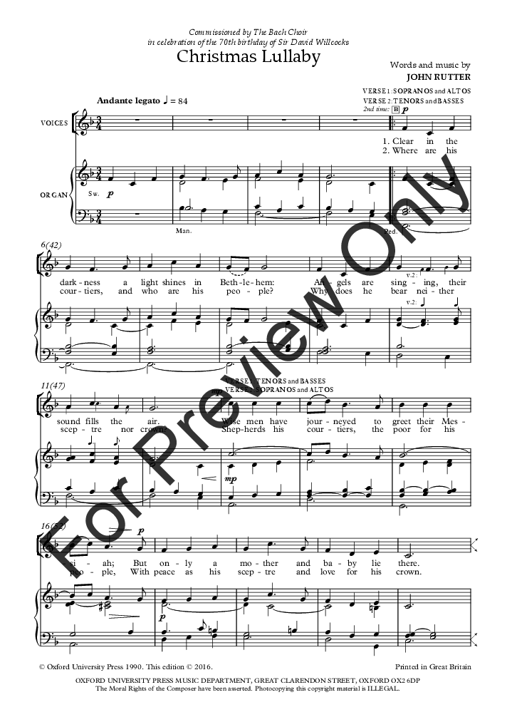 Christmas Lullaby John Rutter Sheet Music