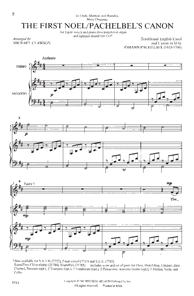 The First Noelpachelbels Canon Two Part Jw Pepper Sheet Music