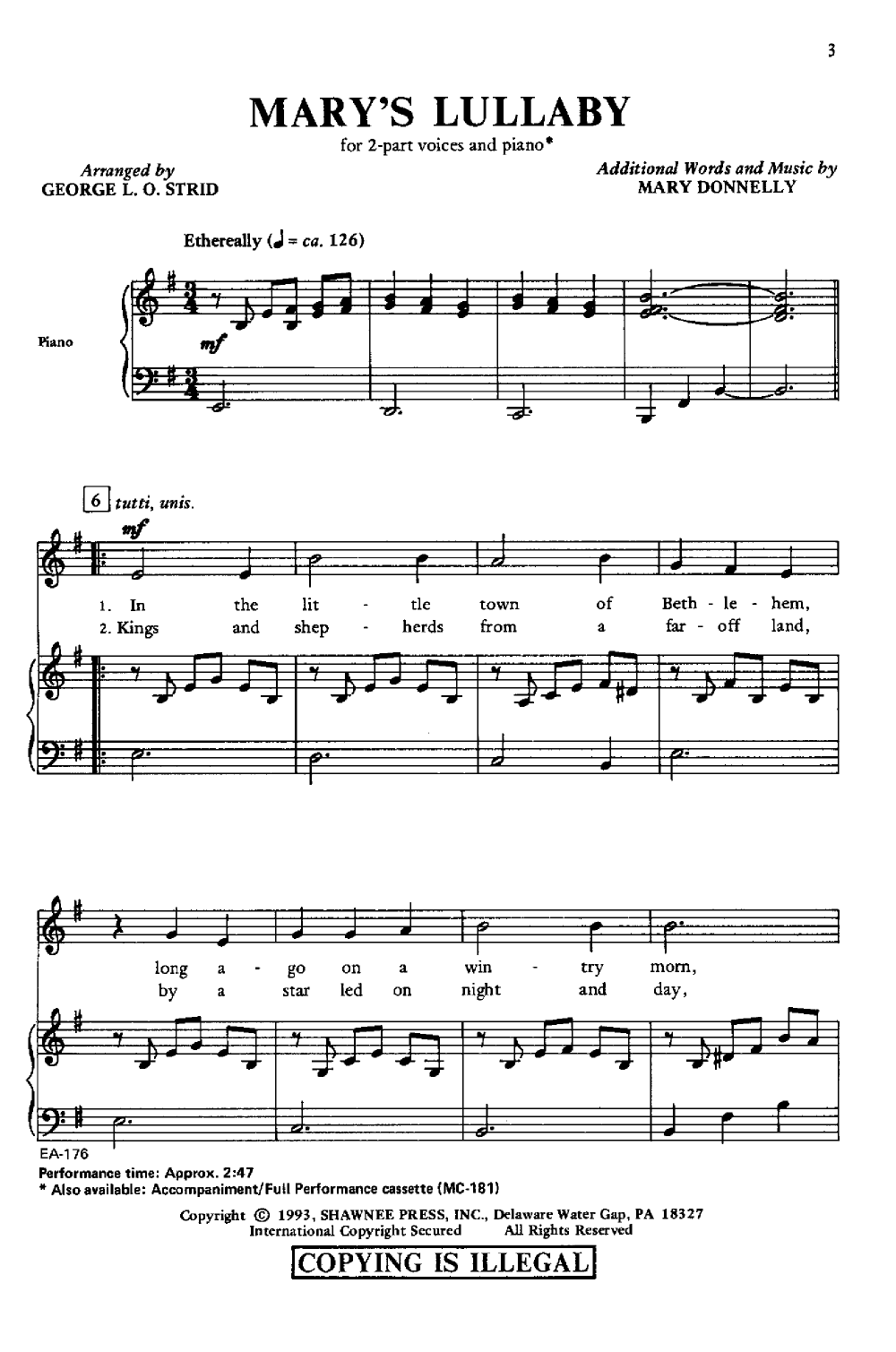 mary s lullaby sheet music