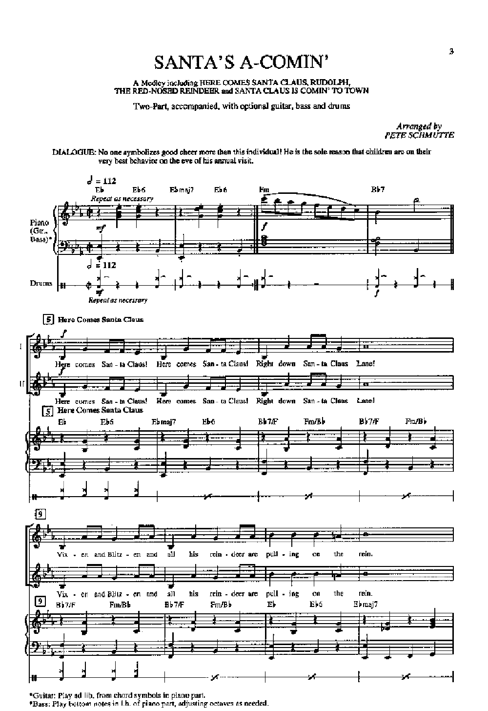 Santas A Coming A Medley Two Part By Sch Jw Pepper Sheet Music