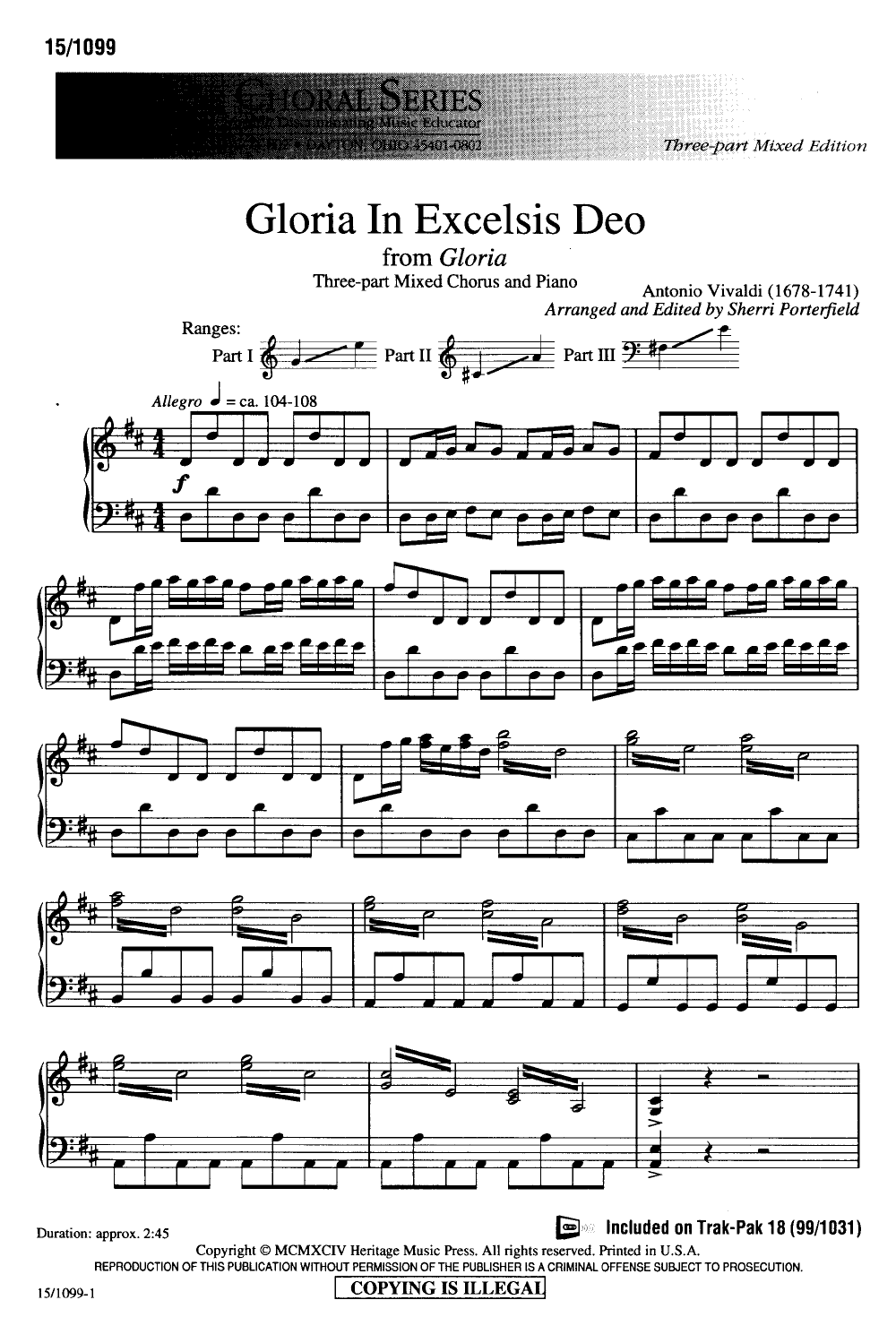 Gloria in excelsis deo sheet music