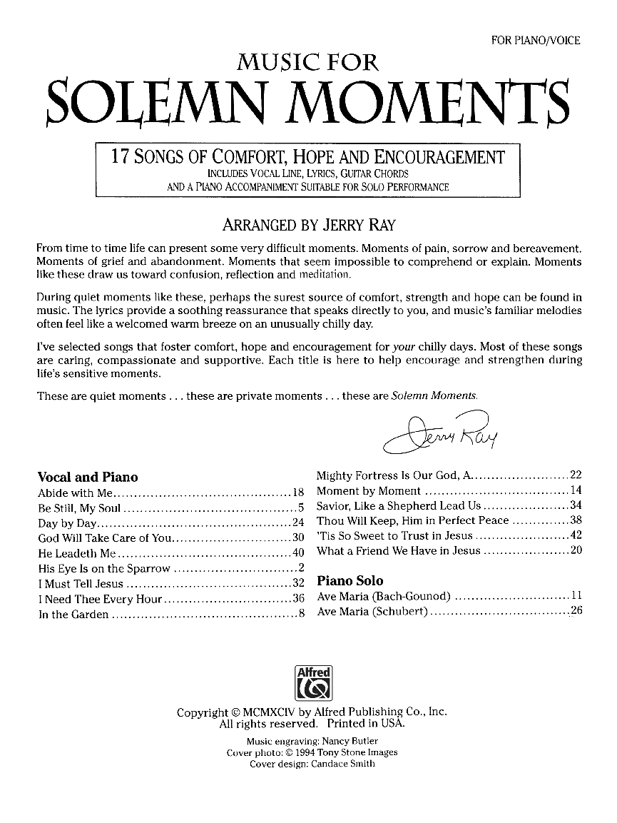 Music For Solemn Moments Vocal Solo Collect Jw Pepper Sheet Music