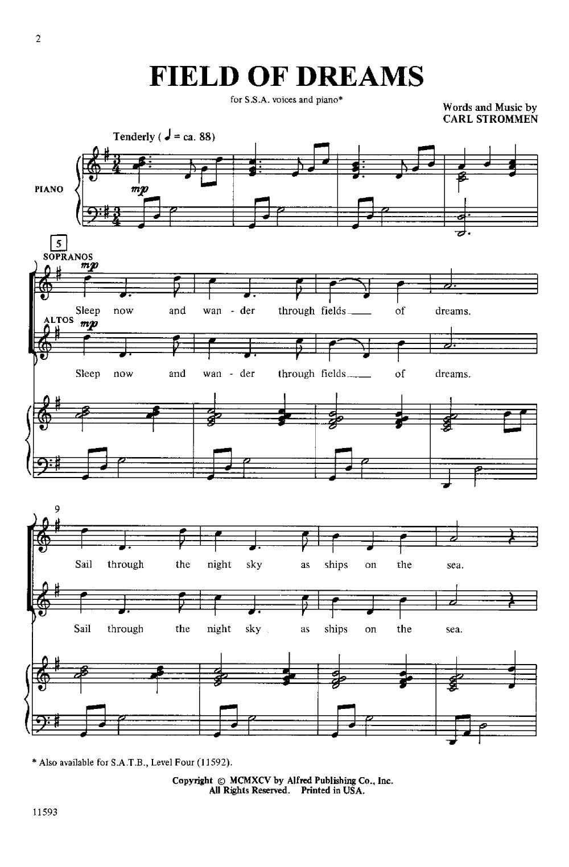 in dreams piano sheet music