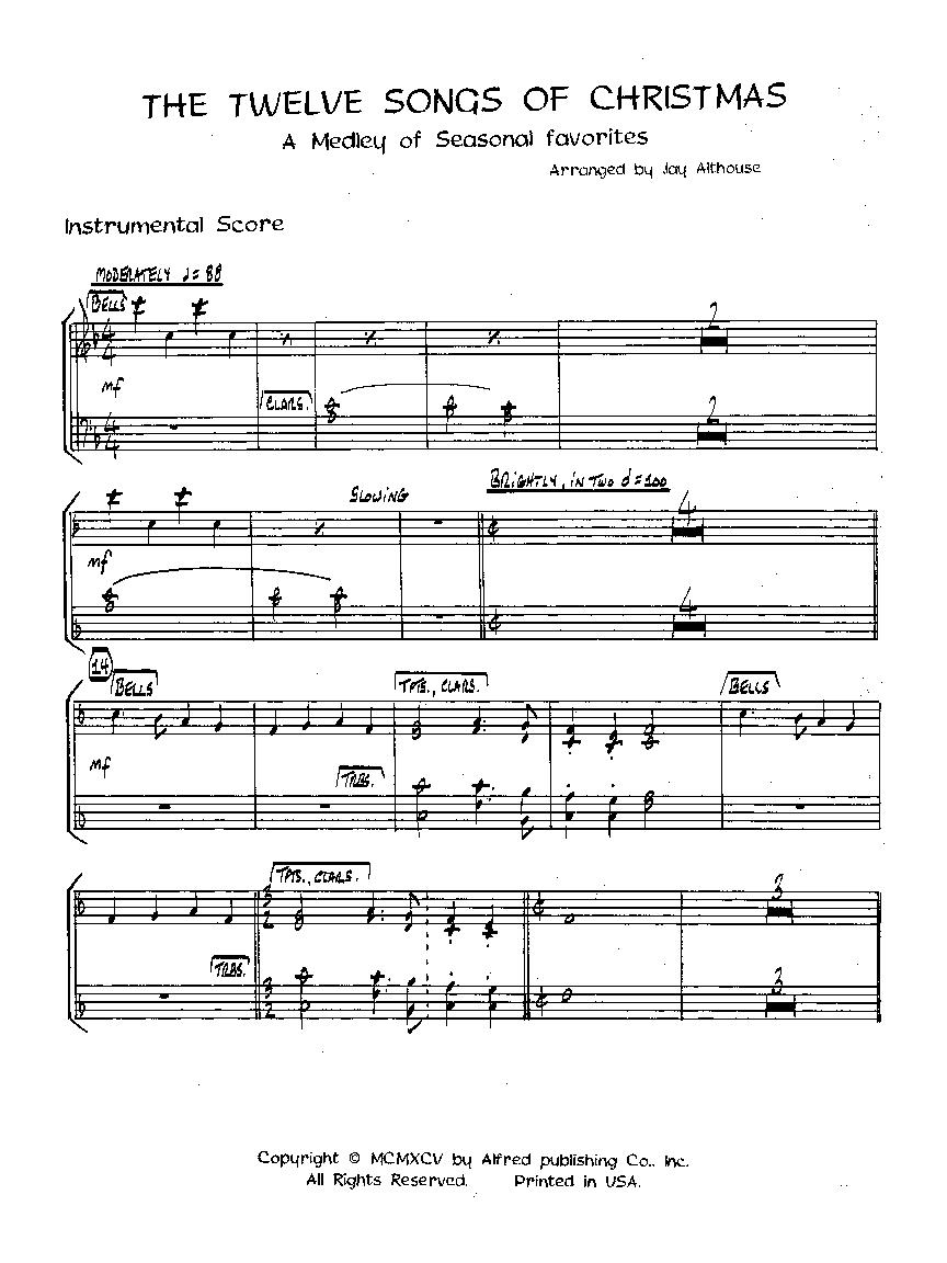Twelve Songs of Christmas (Instrumental Parts&nbs   J.W. Pepper ...