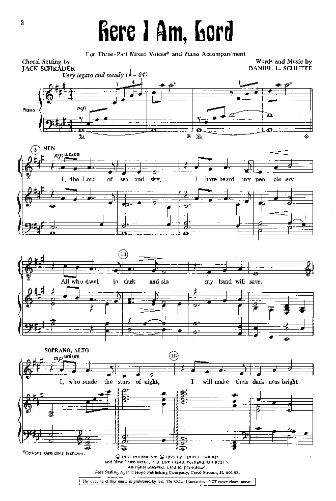 Here I Am, Lord (Three-Part Mixed ) by Danie | J.W. Pepper Sheet Music