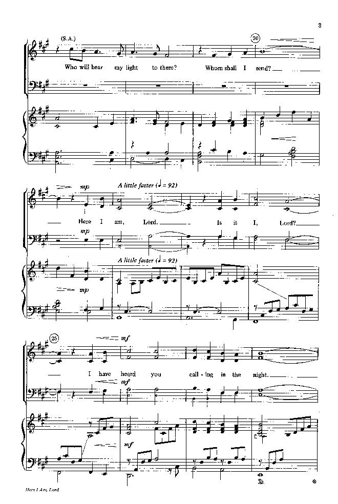 Here I Am, Lord (Three-Part Mixed ) by Danie   J.W. Pepper Sheet Music