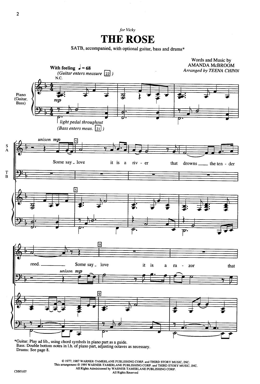 Rose Satb By Chinn Jw Pepper Sheet Music