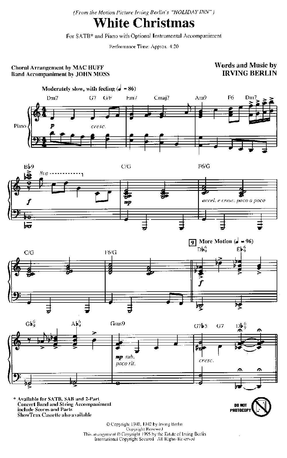 White Christmas Satb Sheet Music Free | Christmaswalls.co