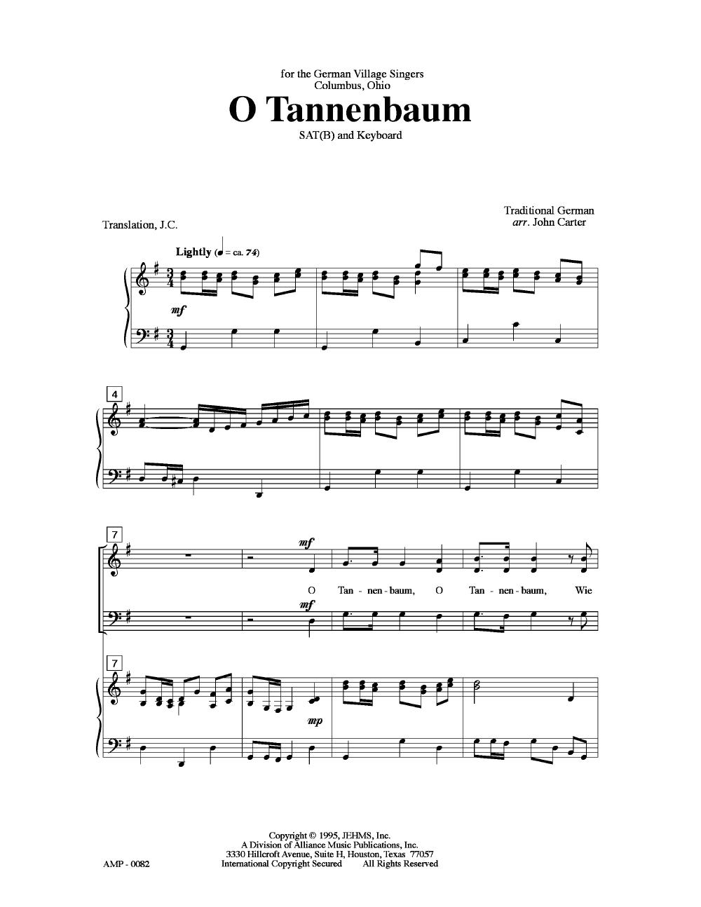 O Tannenbaum (SATB ) by CARTER, J| J.W. Pepper Sheet Music