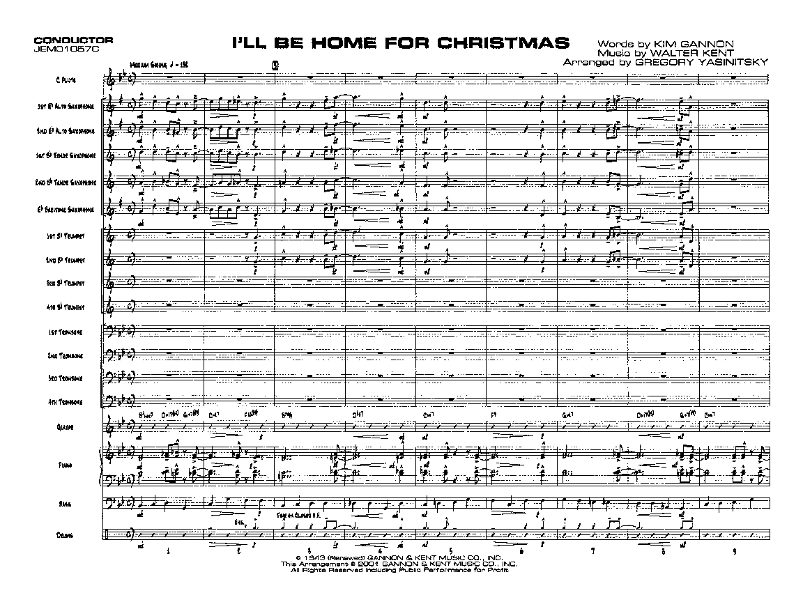 I\'ll Be Home for Christmas arr. Greg Yasinitsky| J.W. Pepper Sheet Music