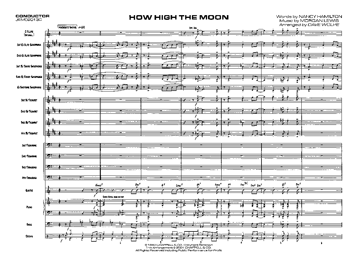 how high the moon by morgan lewis arr dave wolpe j w pepper sheet music. Black Bedroom Furniture Sets. Home Design Ideas
