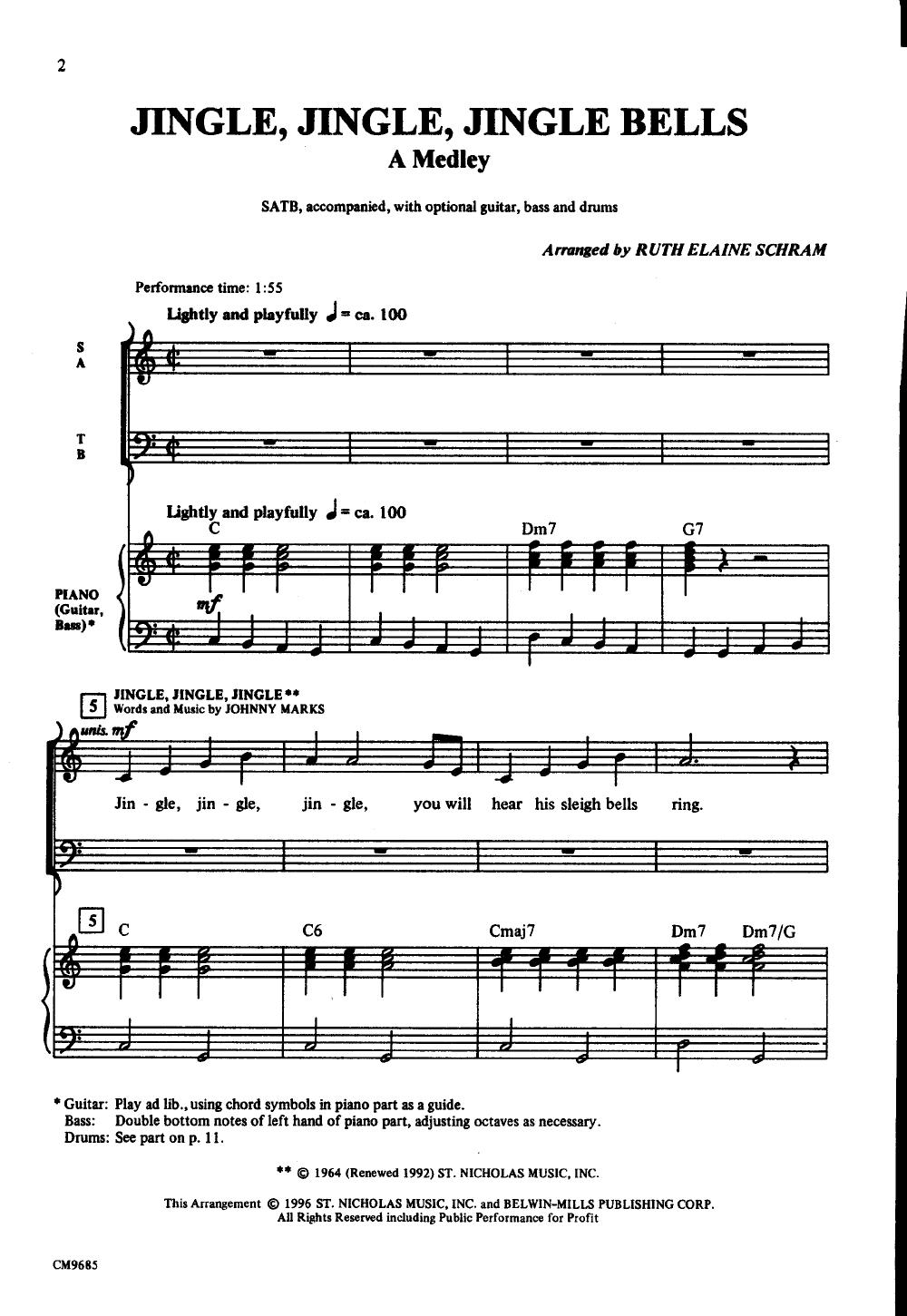 Jingle Jingle Jingle Bells Satb By Schram Jw Pepper Sheet Music